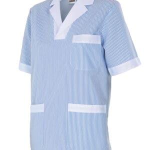 Velilla 585 Camisola Pijama A Rayas Manga Corta Celeste