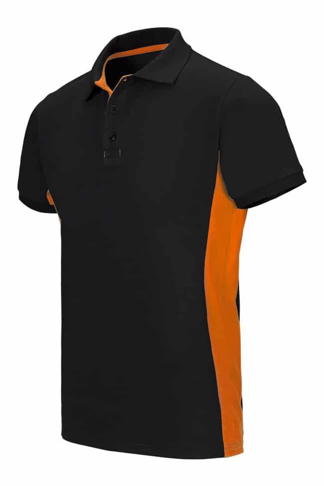 Velilla 105504 Polo Bicolor Manga Corta Negro Naranja