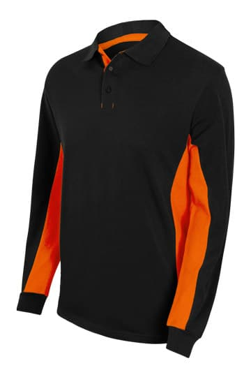 Velilla 105514 Polo Bicolor Manga Larga Negro Naranja