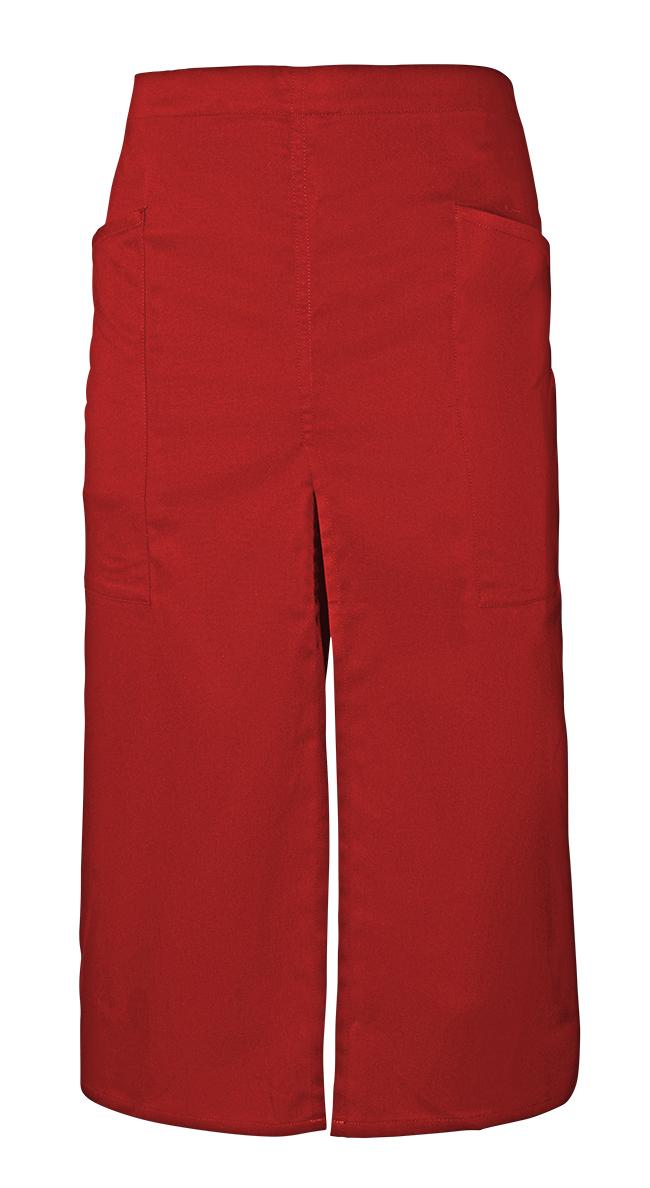 Velilla 404209 Delantal Largo Con Abertura Y Bolsillos Rojo Coral